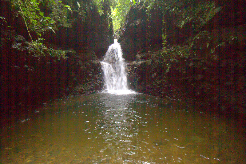 Waterfall with swimming pool